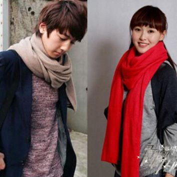 New Arrival Thicken Super Long Women Fashion Scarves Men Knitted Solid Color Warm Wraps Unisex Scarf For Winter Wj002