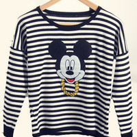 Striped Mickey Cartoon Print Long Sleeve Sweater