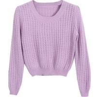 Simply Hollow Out Woolen Yarn Pullover