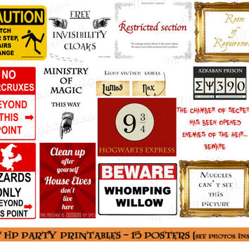 Set of 15 HP printables posters- pdf instant download, Harry Potter inspired, Halloween, Hogwarts party decoration