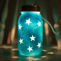 Blue Mason Jar Night Light with star pattern.  Great for kids, decor or weddings
