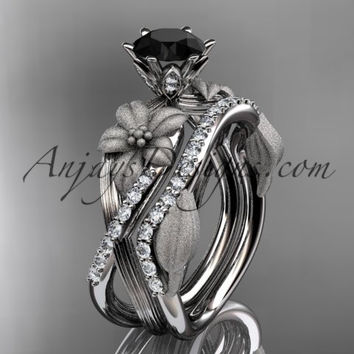 Unique 14kt white gold diamond flower, leaf and vine wedding ring, engagement set with a Black Diamond center stone ADLR221S