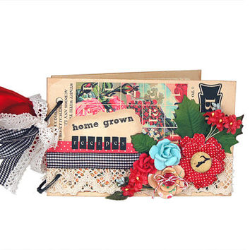 Vintage style floral recipe book / recipe album with recipe cards and dividers / tan red blue black