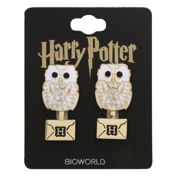 Licensed cool Harry Potter Hedwig Owl Post Letter Rhinestone Stud Bling Ear Jacket Earrings