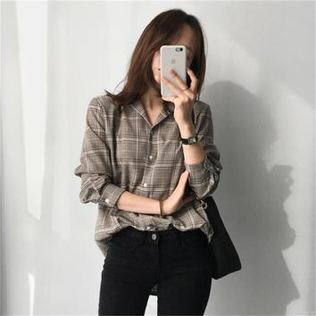 New Classic Plaid Wild Shirt Casual Punk Female Punk Harajuku Cute Clothes For Women Women's Shirts Tunic Japan Kawaii Ladies