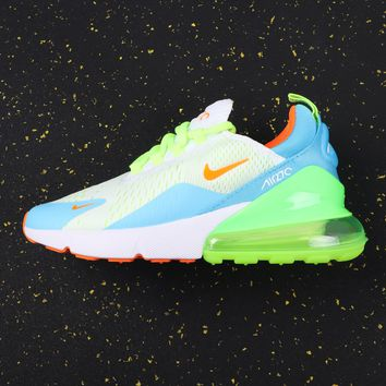 Nike Air Max 270 White/blue/green Running Shoes - Best Online Sale