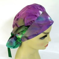Womens Bouffant Surgical Scrub Hat or Cap Tie Dye Purple and Green