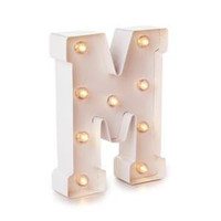Darice Metal Letter M Marquee Light Up, White