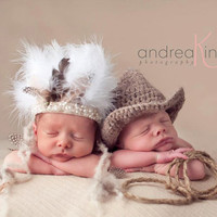 Newborn Cowboy and Indian  Baby Hats,  Newborn Photography Prop