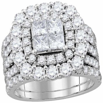14kt White Gold Women's Princess Diamond Cluster Halo Bridal Wedding Engagement Ring Band Set 4-1-2 Cttw - FREE Shipping (US/CAN)