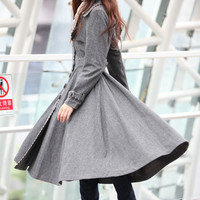 Grid Grey Cashmere Coat Big Sweep Grid Women Wool Winter Coat Long Jacket Tunic - NC222