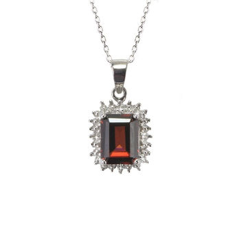 925 Silver 1.78ct Garnet & Diamond Pendant Necklace - Rectangle Gemstone