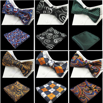 New Design Self Bow Tie And Set Silk Jacquard Woven Men Butterfly Bow Tie Pocket Square Handkerchief Suit Wedding