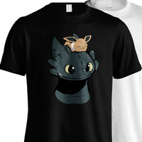 toothless shirt how to train your dragon shirt pokemon eevee tee t-shirt men's women's black white 100 % cotton