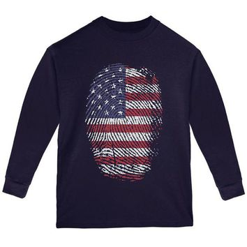 DCCKU3R 4th of July American Flag Pride Thumbprint Youth Long Sleeve T Shirt