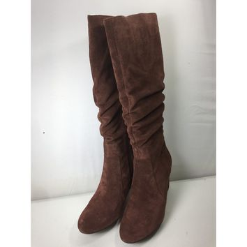 H by Halston Tall Shaft Brown Suede Boots with Heel