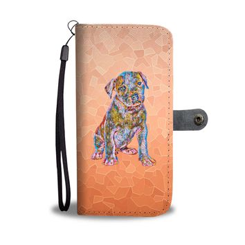 Pit Bull Puppy Wallet Phone Case, Stained Glass Design, Vibrant Apricot
