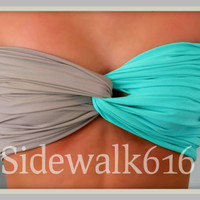 Robin Egg Blue and Grey Bandeau - Spandex Bandeau - Bandeau