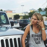 Jeep Hair Don't Care Tank Top (Gray or White)