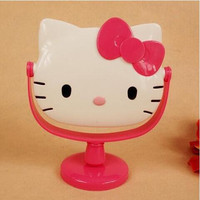 Cute Hello Kitty Cat Head Mirror Makeup Necessary White And Pink