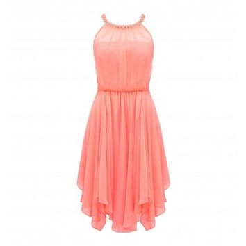 Libby halter neck dress - peach kiss