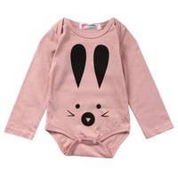 Infant Newborn Baby girls Long sleeve Rabbit  Romper Cotton Pink Jumpsuit Outfits Print Clothes Set