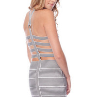 Cutting In Bandage Dress in Black Stripe :: tobi
