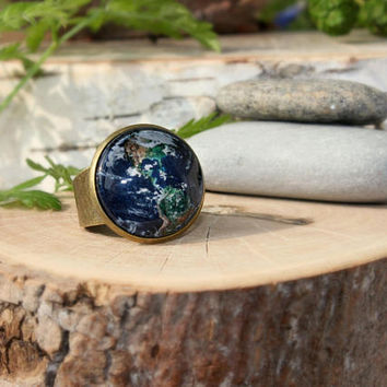 Planet Earth Ring | Antique Bronze Ring | Glass Cabochon | Space Jewelry | Planet Ring | Handmade Jewelry | Custom Design