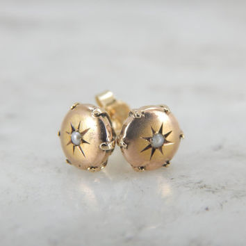 Starbursts and Seed Pearls, Victorian Stud Earrings in Gold V6VCDE-N