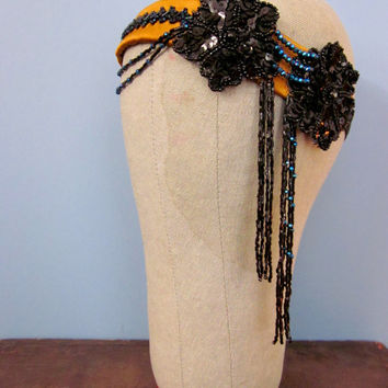 Handmade Flapper Headpiece with Orange Silk and Vintage Black Appliques - 1920s Headpiece Tribal Fusion Belly Dance