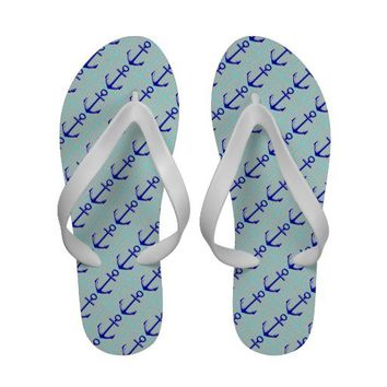 Cute Blue Anchors on Blue, Nautical Flip Flops from Zazzle.com