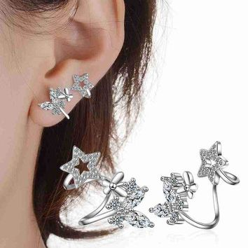 ac spbest PATICO Flower Earrings Vintage 925 Sterling Silver Star Animal Wedding Birthday Party Ear Stud Earring Valentine's Day Jewelry