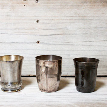 Vintage French birth cups, Three silver plated tumblers, Newborn, Vintage goblets, Collection