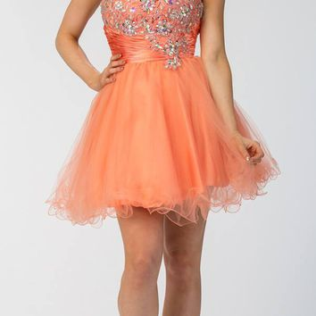 Short Studded Bodice Strapless Coral Puffy Prom Dress