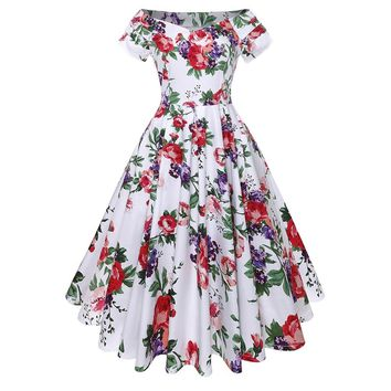 Women Floral Print Vintage Dress Off Shoulder Elegant Sexy Party Casual Holiday Flower Retro Ladies Swing Midi Dresses