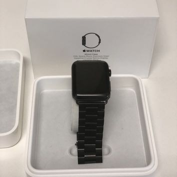 Apple Watch Series 1 42mm Stainless Steel With new black stainless wrist band.