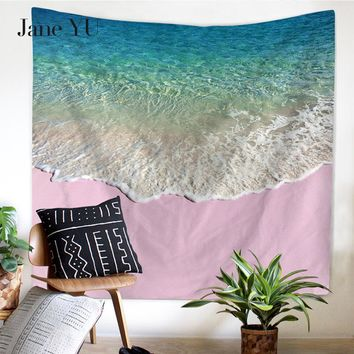 JaneYU New High Definition Original Beauty Beach Sea Wave Multifunctional Tapestry Hanging Wall Beach tapestries for furniture
