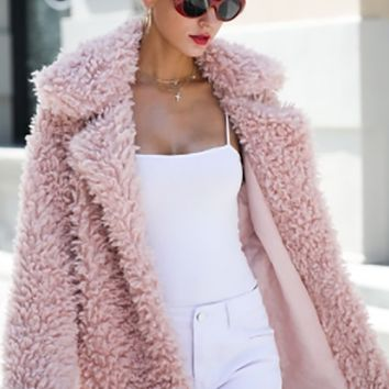 Winter Fantasy Pink Faux Fur Long Sleeve Collar Coat