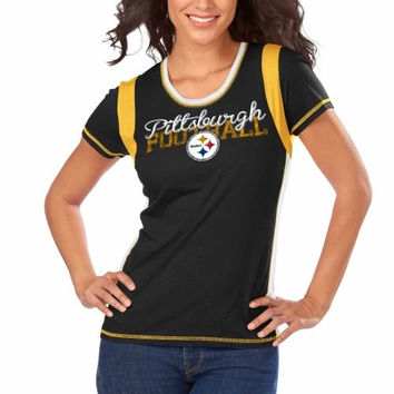 Pittsburgh Steelers Majestic Women's Pride Playing V T Shirt Black Size 2XL
