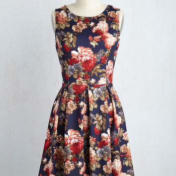 Chic Seminar Dress in Navy Blooms | Mod Retro Vintage Dresses | ModCloth.com