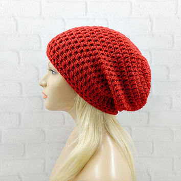 Red Slouchy Beanie, Slouchy Winter Hat, Red Vegan Hat, Oversized Hat, Crochet Beanie, Slouch Hat, Hipster Hat, Womens Hat, Winter Beanie