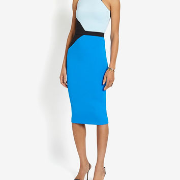 David Koma Colorblock One Shoulder Pencil Fit Dress at INTERMIX | Shop Now | Shop IntermixOnline.com