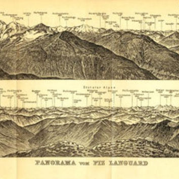 1899 Panorama of the Piz Launguard Mountain,  Swiss Alps, Antique Drawing, Baedeker