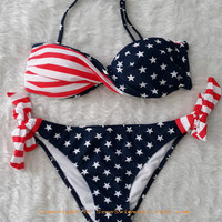 Women Sexy Swimwear Set Stars&Stripes US Padded Twisted Bandeau Bikini American Flag Swimsuit