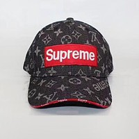 LV Louis Vuitton Supreme Popular Women Men Sunhat Embroidery Baseball Cap Hat Black