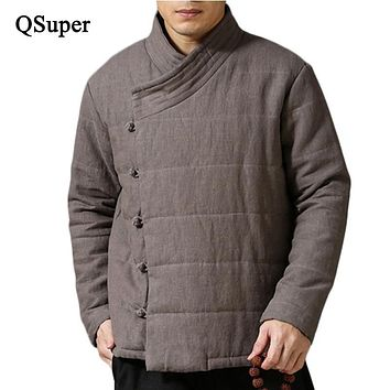 ZAITUN 2017 Brand Men Thick Winter Linen Parkas Men Chinese Style Cotton Liner Linen Jacket Coat Men Outwear