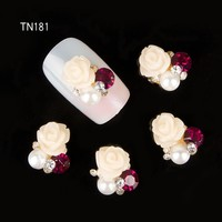 10pcs 3d rhinestones for nails art charms jewelry adhesive rhinestones for manicure decoration rose design strass nail art TN181