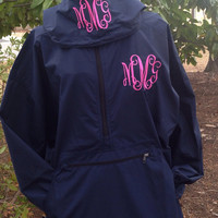 Monogrammed Pack and Go Pullover Raincoat With Optional Hood Monogram