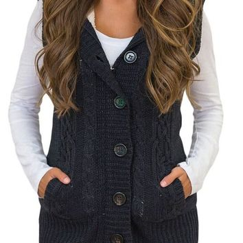 Women Black Cable Knit Hooded Sweater Vest