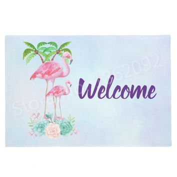 Autumn Fall welcome door mat doormat New Shabby Chic Tropical Beach Flamingo Welcome Mats Palm Trees Flamingos s Entrance Floor Modern Rug Carpet Home Decor AT_76_7